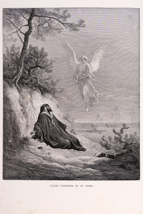 Elijah nourished by an angel, a scene from the bible. Engraving from 1870. Engraving by Gustave Dore, Photo by D Walker.